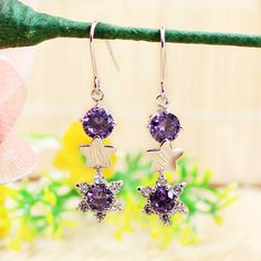 ZotatBele 2017 purple flower star Cubic Zinconia Pending Dangling Earrings Women Long Earring with 2017 fashion Jewelry Brincos #Affiliate