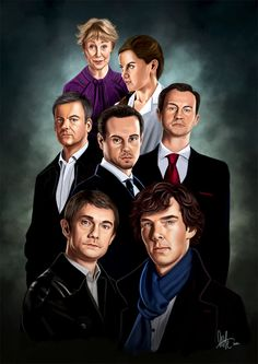Amazing art piece of artwork. Top to bottom, left to right: Ms. Hudson, Molly, ID Lestrade, Moriarty, Mycroft, John Waston, Sherlock.