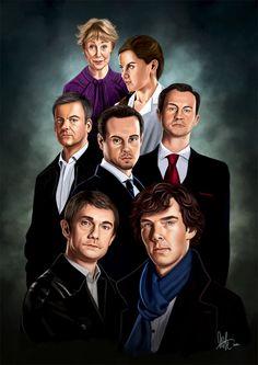 Amazing art piece of artwork. Top to bottom, left to right: Ms. Hudson, Molly, ID Lestrade, Moriarty, Mycroft, John Waston, Sherlock.