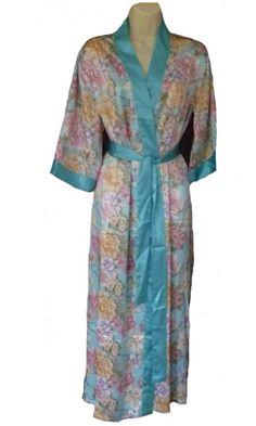 Floral Satin Kimono Wrap Colours - Blue - Pink Very Pretty Floral Print Satin Wrap Self Tie Belt Contrast Band Polyester Pyjamas, Pjs, Satin Kimono, Loose Fitting Tops, Black Laces, Leggings Fashion, Nightwear, Cotton Fabric, Wrap Dress