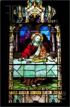 Religious Stained Glass Windows | Photo of Stained glass windows at church reflecting religious figures