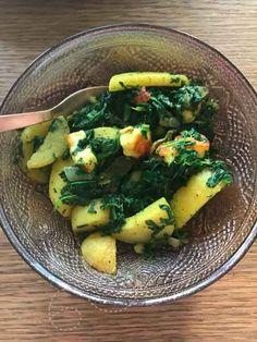 One pot met haloumi, aardappel en spinazie