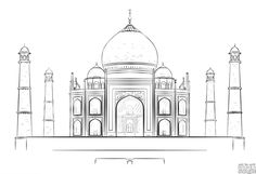 Drawing For Beginners How to draw the Taj Mahal step by step. Drawing tutorials for kids and beginners. Taj Mahal Sketch, Taj Mahal Drawing, Realistic Pencil Drawings, Pencil Art Drawings, Easy Drawings, Teenage Drawings, Beginner Sketches, Drawing Tutorials For Beginners, Beginner Drawing