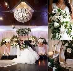 Bride's bouquet, sweetheart table, Jimmy Choo wedding shoes and other inspiration from Anita & Arby's beautiful wedding at Noor Pasadena. Photo by Rene Zadori. Wedding Coordinator: Wife of the Party. Flowers by Avant Garden