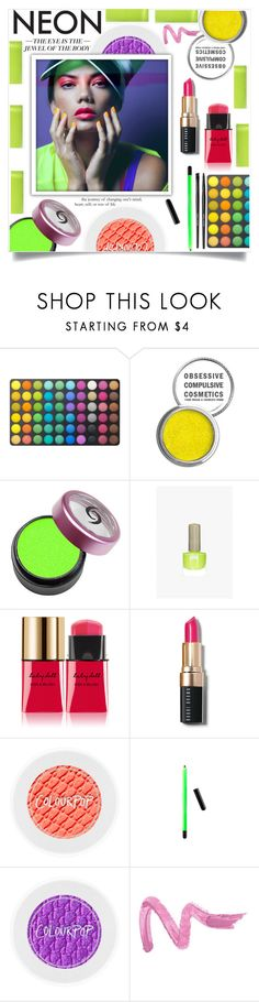 """Bright Eyes: Neon Beauty"" by efriersob ❤ liked on Polyvore featuring beauty, BHCosmetics, Obsessive Compulsive Cosmetics, Floss Gloss, Yves Saint Laurent, Bobbi Brown Cosmetics and Forever 21"