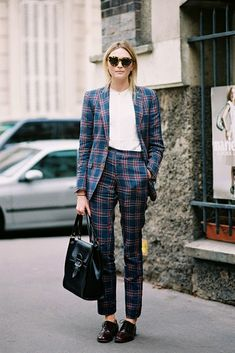 Loving this plaid pantsuit!