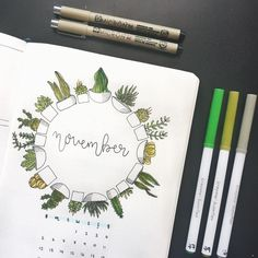 Bullet journal monthly cover page, November cover page, plant bullet journal theme, plant drawings. @buujoos