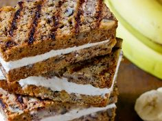 grilled banana bread ice cream sandwiches recipe.... dear lord...