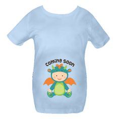 Funny Dragon baby belly print maternity t-shirt says Coming Soon.