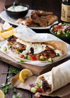 Greek Chicken Gyros with Tzatziki **The chicken is very flavorful and juicy. This is not an authentic tzatziki recipe though. I will definitely make the chicken again but look for a better tzatziki recipe. Recipetin Eats, Greek Recipes, Easy Recipes, Cheap Recipes, Healthy Cooking Recipes, Healthy Summer Dinner Recipes, Best Healthy Dinner Recipes, Simply Recipes, Food Porn