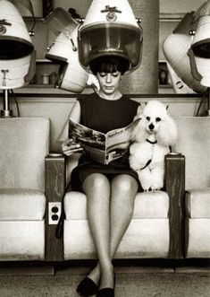 Salon day - nyc, 1965. The dryer she is under is a classic Ullman Bonat salon dryer.
