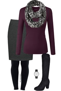 Practical way to do a skirt in winter. I'd replace the top with something neutral and the heeled boots with flat boots.