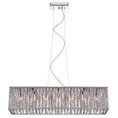 Dsi 7 light chrome rectangular pendant with woven laser cut crystal 7 light chrome with woven laser cut crystal shade rectangular pendant aloadofball Choice Image