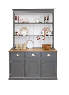 Our Medium Croft #Dresser has been painted in Stove Grey and will be a great addition to any #country-style kitchen