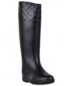 6396057ffd Black Rain Boots, Cute Rain Boots, Quilted Rain Boots. All Women Fashionista