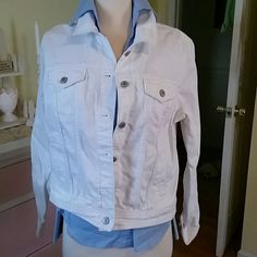 White denim jacket White denim Jean jacket,  great to wear with your upcoming tan :) Old Navy Jackets & Coats Jean Jackets