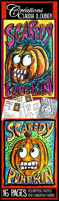 Here is a halloween project for Grades 3 to 6.  This project can also be very interesting in Junior High and High school. It allows the students to work on facial expressions and to draw a pumpkin, while Learning how to add volume.When you download this document you will have complete instructions with pictures and an evaluation rubric.