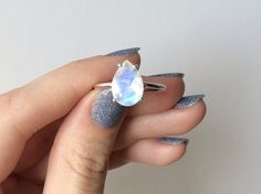 Faceted Pear Moonstone ring in sterling silver - sterling silver moonstone ring…