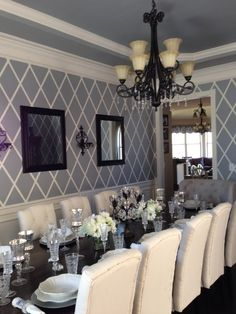 DIY grey diamonds dining room makeover paint job! | Life in the Barbie Dream House Blog