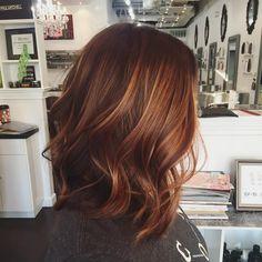 "Chrissy Cunningham (@bychrissycunningham) on Instagram: ""Auburn balayage love. #livedinhair #handpainted #balayage #auburn #brunette #sunkissed #hair…"""