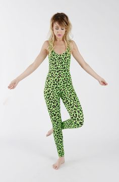 Neon Green Leopard Print Catsuit. Catsuit. Animal Print. Leopard. Neon. Festival Wardrobe. Party Statement. Handmade. By Tirade 13
