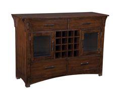 $543.60, Artisan Loft Craftsman Oak Wood Glass Doors Server
