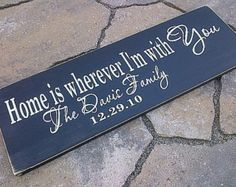 Home is wherever I'm with you custom FAMILY name handpainted wooden sign by Dressing Room No. 5