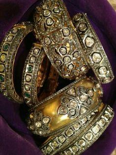 Polki diamond and gold Victorian style bangle and kada