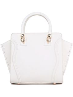 White With Zipper PU Tote Bag 30.33