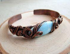 Cuff Bracelet, Copper Cuff Bracelet, Adjustable Cuff Bracelet, 7th Anniversary Gift, Chaos Wrap, Larimar Stone Wire Wrap Copper Bracelet