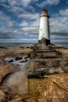 ✯ Steps leading to the abandoned lighthouse at Point of Ayre, Talacre Beach, Flintshire, North Wales, UK