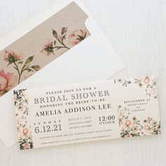 Every bridal shower deserves a little bit of pink! Featuring our new garden rose inspired bridal shower invites with matching envelope liners.