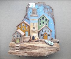 Driftwood Waterproof Decoration Door Decals A Raft of Driftwood on The Shoreline with Seagulls Wavy Sea and The Sky Digital Image Perfect Ornament Blue x INCH - Driftwood 4 Us Pottery Houses, Ceramic Houses, Wooden Houses, Driftwood Sculpture, Driftwood Art, Driftwood Beach, Diy Craft Projects, Diy And Crafts, Altered Canvas