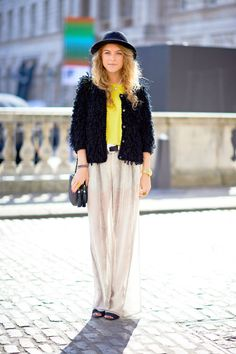 Light-as-air sheer bottoms warm up with a cozy faux fur jacket.  Occupation:  Student Pants:  Zara Top:  Zara   - ELLE.com