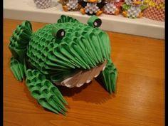 3D origami frog tutorial Origami Frog, Origami 3d, Origami Videos, Modular Origami, Oragami, Paper Folding Crafts, Origami Paper Folding, Paper Crafts, Origami Snowman