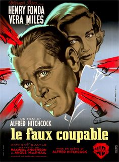 """French poster of the movie """"The Wrong Man"""" -  AlfredHitchcock"""