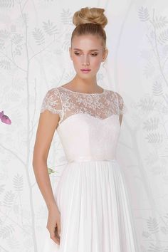 SADONI wedding accessory LOIS top with cap sleeves and authentic French lace.