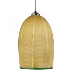 """Izmir 12V Pendant Light  From Oggetti    Mouth-blown in Murano, Italy. Singed """"Oggetti."""" The glassblower applies a wrap over a gather of glass and then pulls the undulating pattern. A contrasting rim is created with a separate bead of glass. Amber has a thin rim of red; ivory has a thin rim of green. Satin nickel or dark bronze hardware."""