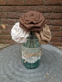 Autumn Inspired Stemmed Burlap Roses  Choice of 3 by DixieByDesign,  Etsy