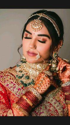 Best Bridal Makeup, Indian Bridal Makeup, Bride Makeup, Indian Wedding Video, Indian Wedding Photos, Indian Bridal Jewelry Sets, Bridal Accessories, Indian Jewelry, Indian Wedding Photography Poses