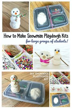 Winter Sensory Activity for Kids: Make a playdough snowman kit! Kids can make snowmen out of play dough and loose parts. Turn it into gifts for large groups of students or a homemade gift for a birthday or winter party! #buggyandbuddy #sensoryplay #winterplay #winteractivity #homemadeplaydough #preschool #kindergarten #ece #snowman #snowmanplay #snowmanactivity
