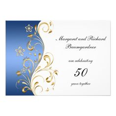 Discount DealsVintage Blue Gold Swirls 50th Wedding Anniversary InvitationWe provide you all shopping site and all informations in our go to store link. You will see low prices on