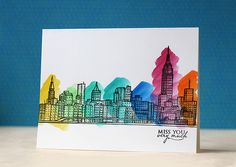 Stamp and color card design. Sketchy Cities America – Altenew- love this stamp Scrapbooking, Diy Scrapbook, Travel Scrapbook, Manhattan, Altenew Cards, Rainbow Card, Card Patterns, Watercolor Cards, Watercolor Classes