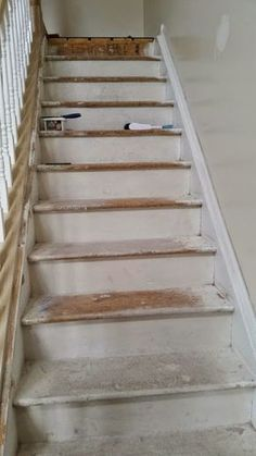 Particle board stair makeover- it can be done folks! Particle board stair makeover- it can be done folks! Redo Stairs, Garage Stairs, Basement Stairs, Entryway Stairs, Basement Plans, Basement Bathroom, Stair Renovation, Stairs Stringer, Staircase Remodel