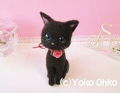 Needle felted tiny black cat, blue eyes
