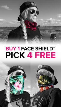 Multi-Use Face Shields� for Women can be worn 10+ ways.