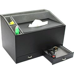 Ikee Design Home and Office Desk Faux Leather Multifunctional Organizer Caddy Storage For Tissue Box Holder IPad Pen Remote Control Holder * Visit the image link more details.