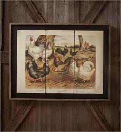 Poultry Breeds on Framed Tin Panels