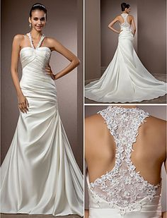 Trumpet/Mermaid Halter Chapel Train Satin Wedding Dress - USD $ 189.99