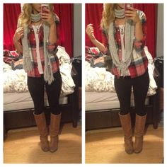 Fall casual date outfit #flannel #scarf